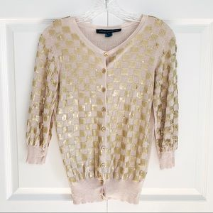 French Connection Gold Check 3/4 Sleeve Cardigan